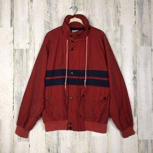 Nautica Mens Red Windbreaker Utility Jacket Large